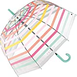 Esprit - Paraguas automático, diseño de rayas, transparente