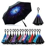 Jooayou Paraguas Invertido de Doble Capa,Paraguas Plegable de Manos Libres Autoportante,Paraguas a Prueba de Viento Anti-UV para la Lluvia del Coche...