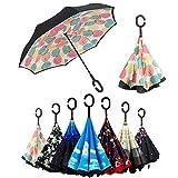 Paraguas Invertido, Paraguas Plegable, Reversible, con protección contra Rayos UV, con Mango en Forma de C Invertida. Paraguas de Doble Capa a Prueba...